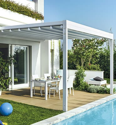 Pergole addossate with tendoni per terrazzi - Tende bambu per esterno ...