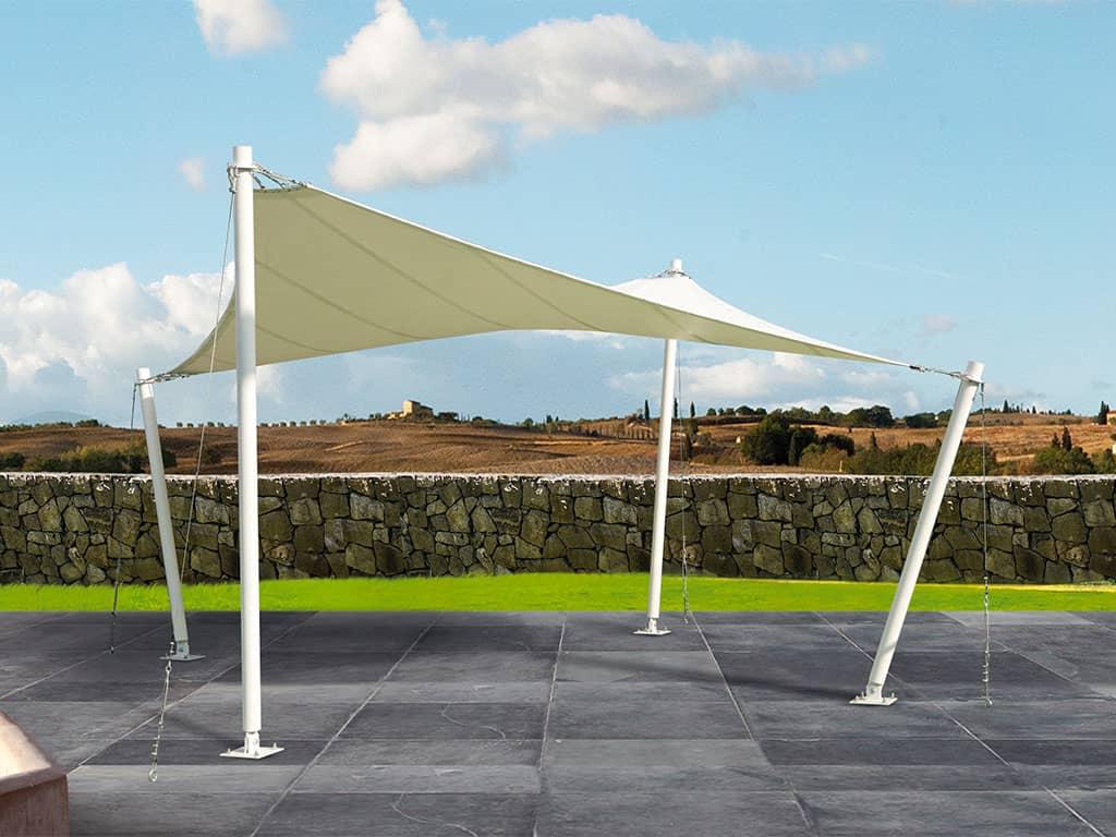 Tenda a vela pensilina vetrata con tenda telescopica integrata vele da giardino pensilina - Tende a vela per esterno ...
